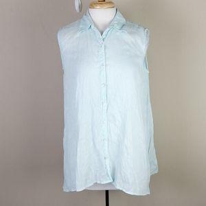 J. Jill Linen Button Up Sleeveless Blouse Size XS